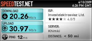 Тест скорости интернета от корбины