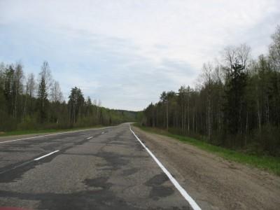 Федеральная трасса М-8 Холмогоры - еще приемлемое состояние.